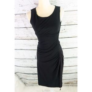 Max Mara Black Bodycon Side Tassel Dress